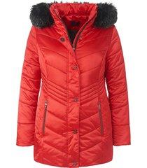 doorgestikte jas met staande kraag van emilia lay rood