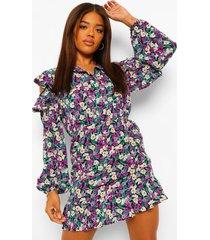 bloemenprint blouse jurk met uitgesneden schouders en ruches, purple