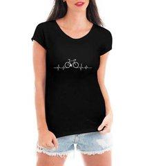 camiseta criativa urbana bicicleta ciclismo pulsação feminina - feminino