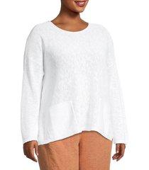 eileen fisher women's plus linen-blend crewneck top - white - size 2x (18-20)