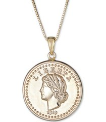 "coin double-sided 18"" pendant necklace in 14k gold"