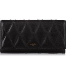 givenchy quilted leather long wallet black sz: