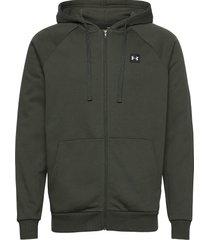 ua rival fleece fz hoodie hoodie trui groen under armour