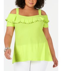 belldini plus size ruffled cold-shoulder top