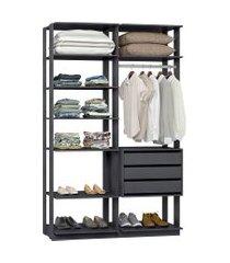 closet guarda roupa be mobiliário clothes 3 gavetas e cabideiro