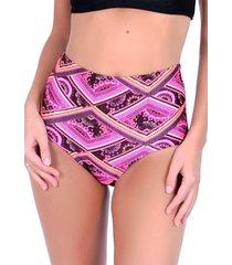 bikini calzón pin up clásico estampado fucsia samia