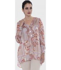 blusa túnica con vuelos en el escote naranjo lorenzo di pontti