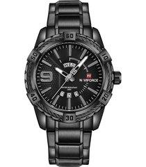 reloj naviforce 9117 casual hombres acero negro gris