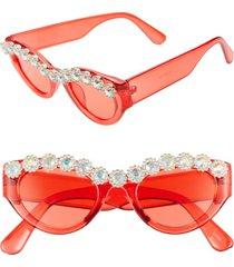 women's rad + refined 50mm chunky crystal embellished sunglasses - red