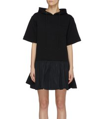 logo patch hooded mid sleeve shirt dress