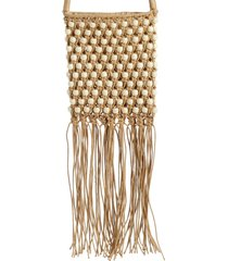 mali + lili minka beaded macrame crossbody bag - beige