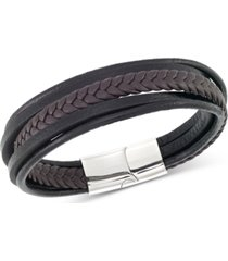 legacy for men by simone i. smith men's black & brown multi-row leather bracelet in stainless steel