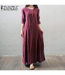 zanzea vestidos de gran tamaño mujeres vestido largo largo retro botones de bordado de encaje de manga larga de otoño vestido elegante suelto informal (rojo vino) -rojo