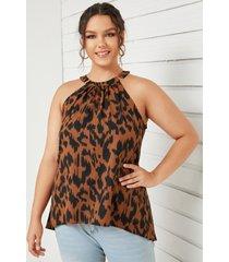 camiseta sin mangas con hebilla metálica y leopardo halter de talla grande yoins