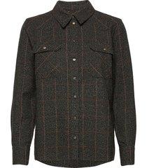billy boucle shirt overhemd met lange mouwen bruin mos mosh