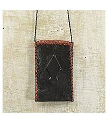 leather cell phone shoulder bag, 'african kite' (ghana)