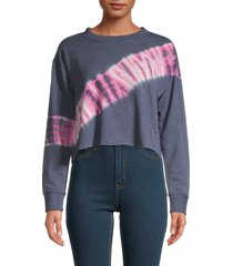knit riot women's tie-dye cropped sweatshirt - navy hot pink - size m