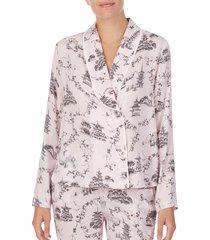 women's shady lady shawl collar pajama top, size x-small - pink