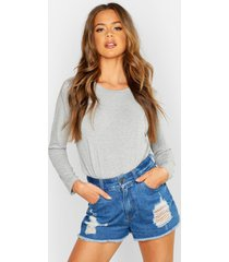 basic long sleeve crew neck t-shirt, grey marl