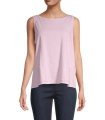 eileen fisher women's bateau-neck cotton top - malow - size xl