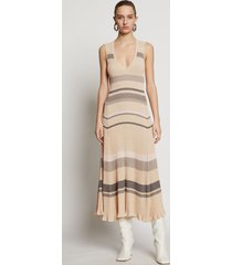 proenza schouler zig zag stripe knit dress pale blush multi/pink l
