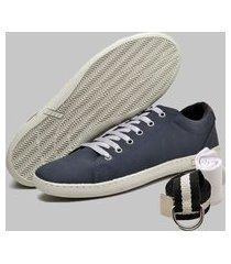 kit sapatênis casual dexshoes azul cinto e meia