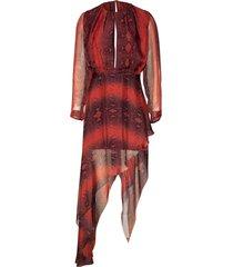 printed python asymmetrical dress