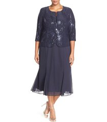 plus size women's alex evenings sequin mock two-piece dress with jacket, size 14w - blue