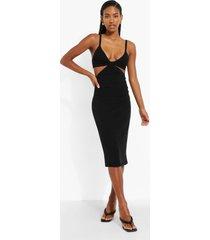 gebreide midi jurk met uitsnijding en halter neck, black