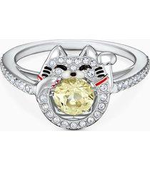 anello swarovski sparkling dance cat, multicolore chiaro, placcato rodio