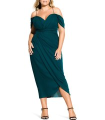 plus size women's city chic entwine cold shoulder tulip midi dress, size xx-large - green