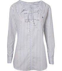 camisa dudalina manga longa tricoline fio tinto amarrações feminina (listrado, 42)