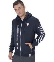 jaqueta de moletom com capuz fatal 21570 - masculina - azul escuro