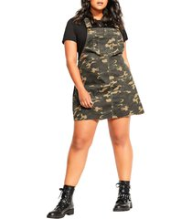 plus size women's city chic camo pinafore dress
