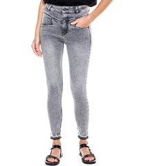 high waist skinny jeans con corte delantero y ruedo desdoblado color blue