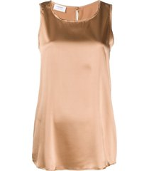 snobby sheep crew neck sleeveless top - brown