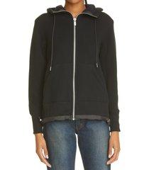 women's sacai back pleat sponge hoodie, size 2 - black