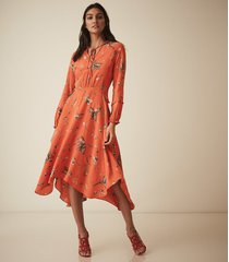 reiss bay - floral midi dress in coral, womens, size 12