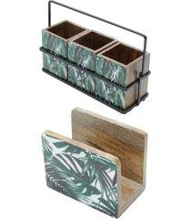 conjunto leafage com porta talher e porta guardanapo em madeira bon gourmet verde