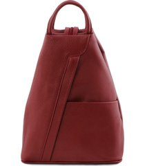 tuscany leather tl141881 shanghai - zaino in pelle morbida rosso