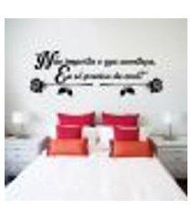 adesivo de parede de cabeceira frase romântica mod 34 - g 50x145cm