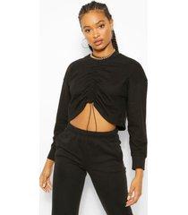 geplooide oversized sweater, black