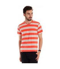 camiseta decote v manga curta laranja