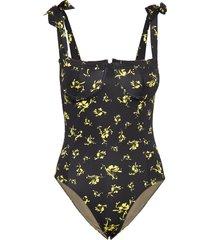 recycled fabric swimwear badpak badkleding zwart ganni