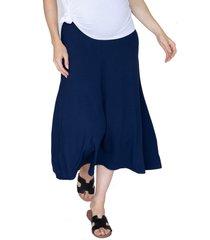 women's angel maternity maternity midi skirt, size medium - blue