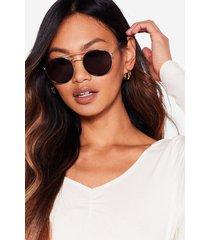 womens round the clock tinted aviator sunglasses - brown