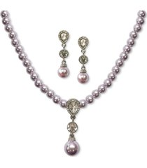charter club crystal & imitation pearl pendant necklace & drop earrings set, created for macy's