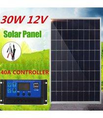 panel de 30w 12v cargador solar monocristalino + 40a de carga solar controlador + clip para la caravana del barco rv car home camping al aire libre de iluminación autocaravana - blanco antiguo