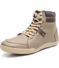 sapatênis shoes grand tamanho grande boston cano médio em couro cascalho