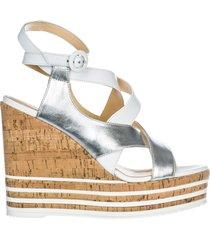 zeppe sandali donna in pelle h361